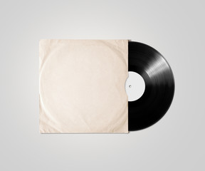 Blank vinyl album cover sleeve mockup, isolated, clipping path.
