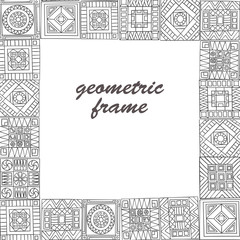 Decorative frame from abstract elements of hand-drawn.  Style zentangl.