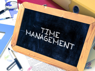 Hand Drawn Time Management Concept  on Chalkboard. Blurred Background. Toned Image. 3D Render.