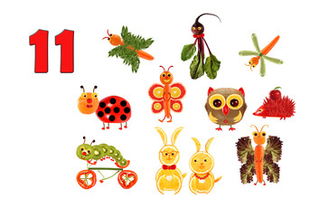 Learning to count. Cartoon figures of vegetables and fruits, as