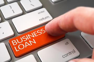 Computer User Presses Business Loan Orange Button. Business Loan Concept - Modern Keyboard with Business Loan Key. White Keyboard with Business Loan Orange Button. 3D Illustration.