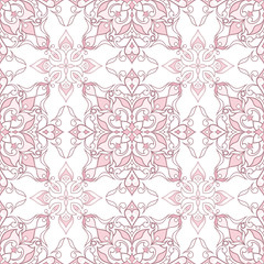 Filigree seamless ornate pink texture in Eastern style.