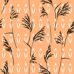 Abstract floral pattern. Grass panicles scattered free. Hand painted texture. Monochrome, black on geometric ornament and beige background.