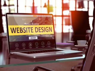 Website Design Concept. Closeup Landing Page on Laptop Screen on background of Comfortable Working Place in Modern Office. Blurred, Toned Image. 3d Rendering.