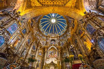 Interior of San Francisco Church in old town of Quito, Ecuador.