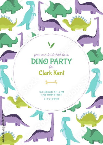 Invitation card or poster on the Dino party. Vector illustration.
