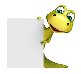 cute Dinosaur cartoon character with white board