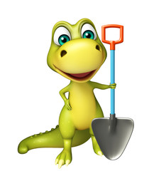 fun Dinosaur cartoon character with digging shovel