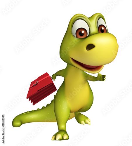 fun Dinosaur cartoon character  with office bag