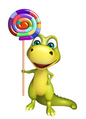 fun Dinosaur cartoon character with lollypop