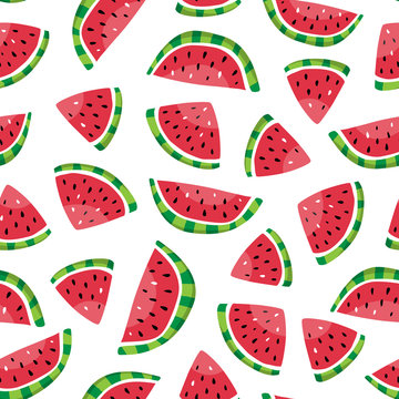 Seamless pattern of watermelon slices in the hand drawn style. Fresh summer fruit background. Vector illustration.