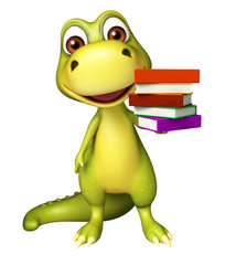 cute Dinosaur cartoon character with book stack