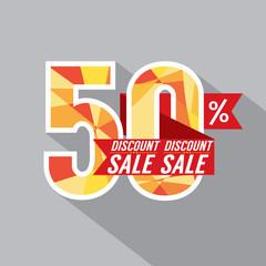 50 Percent Discount Vector Illustration.