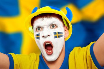 Swedish fans at the stadium