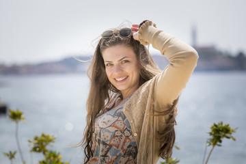junge Frau in Rovinj,Kroatien