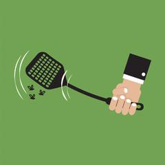 Flyswatter In Hand Vector Illustration.