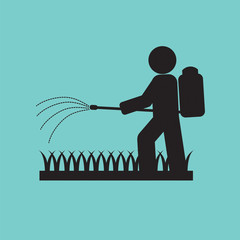 Human Spraying Insecticide Vector Illustration.