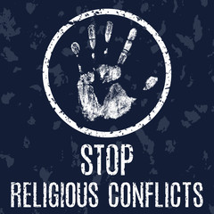 stop religious conflicts vector sign