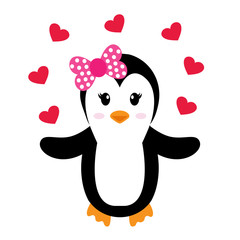 penguin girl and heart