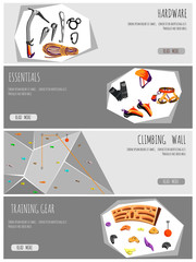 Rock climbing adventure horizontal banner set with climbing equipment elements.vector illustration