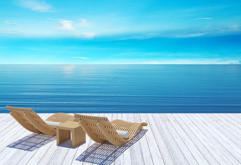 Beach lounge, sundeck over blue sea and sky, summer holiday vacation concept