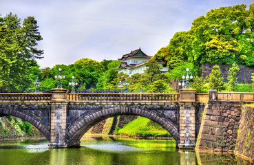 Wall Murals Tokyo Imperial Palace with Nijubashi Bridge in Tokyo