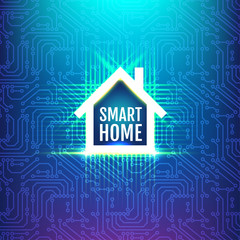 Circuit board background with  smart home sign.