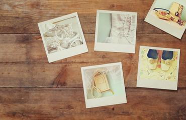 top view of instant polaroid photos album