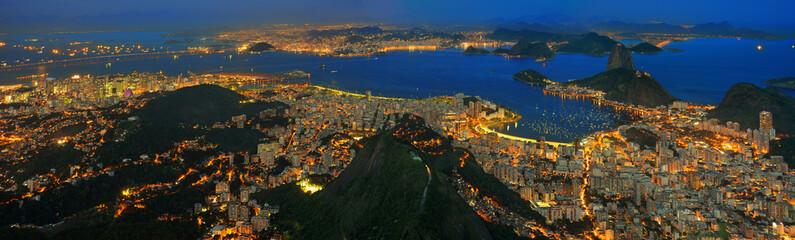 Rio de Janeiro / Zuckerhut, Guanabara Bucht und Stadtzentrum Fototapete