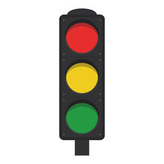 Flat icon traffic lights with shadow. Vector illustration.
