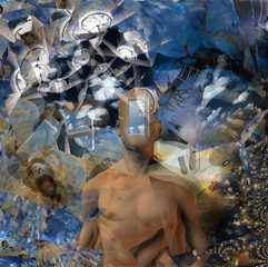 Man with a clocks and fractals