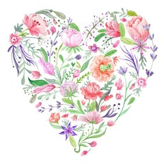 Heart of Summer Watercolor Floral Illustration