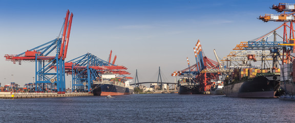 Container Port at Hamburg in the Light of the setting sun