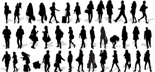 Set of 39 vector's silhouettes of people in action Wall mural