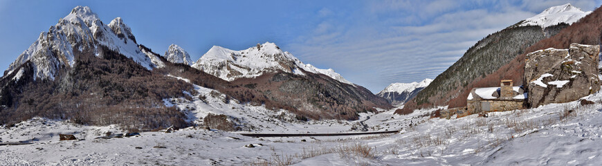 Winter Panorama of Valley Ossau in French Pyrenees