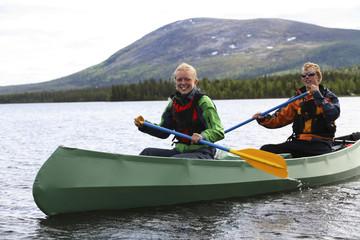 Canoeing in Lapland, Sweden.