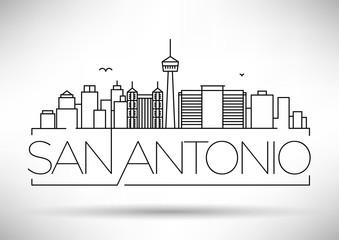 Minimal San Antonio City Linear Skyline with Typographic Design