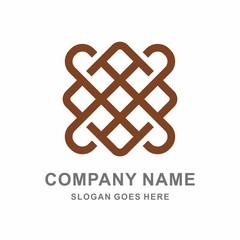 Geometric Square Line Decoration Ornament Vector Logo Template