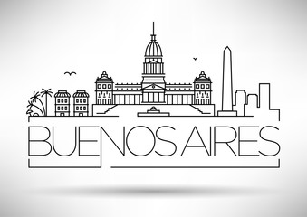 Minimal Buenos Aires City Linear Skyline with Typographic Design Papier Peint
