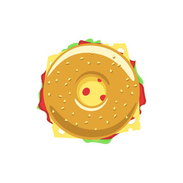 Bagel sandwich vector logo, donut flat icon with meat, hum, salad, cheese, doughnut meal symbol, tasty food, tasty burger, hamburger, fast food shop emblem bakery logo modern design isolated on white