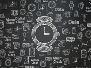 Time concept: Watch on School board background