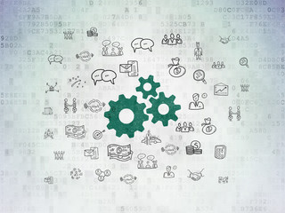Finance concept: Gears on Digital Data Paper background