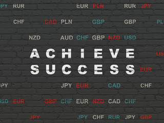 Finance concept: Achieve Success on wall background