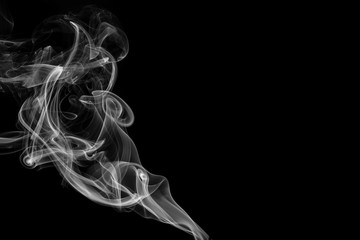 abstract smoke on black background in studio