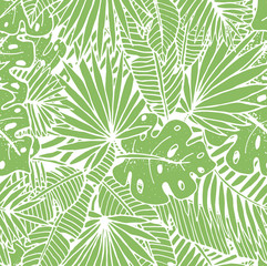Beautiful hand drawn tropical seamless pattern. Green repeated background with palm leaves.