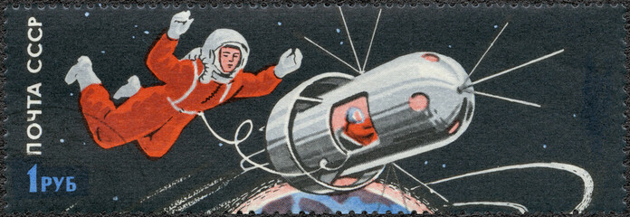USSR - 1965: shows man walking in space
