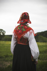 A woman wearing a traditional costume, Dalarna, Sweden.