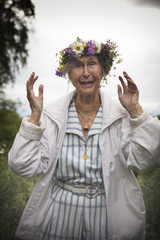 Woman wearing wreath, Dalarna, Sweden.