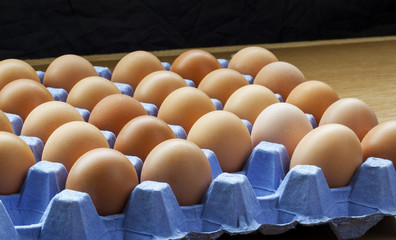 Panorama of whole, fresh, uncooked eggs on tray, still in shells.