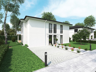 modern townhouse. 3d rendering